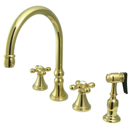 "Kingston Brass KS2792AXBS Governor 8"" Deck Mount Kitchen Faucet With Brass Sprayer, Polished Brass"