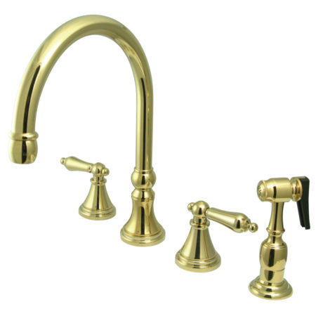 "Kingston Brass KS2792ALBS Governor 8"" Deck Mount Kitchen Faucet With Brass Sprayer, Polished Brass"
