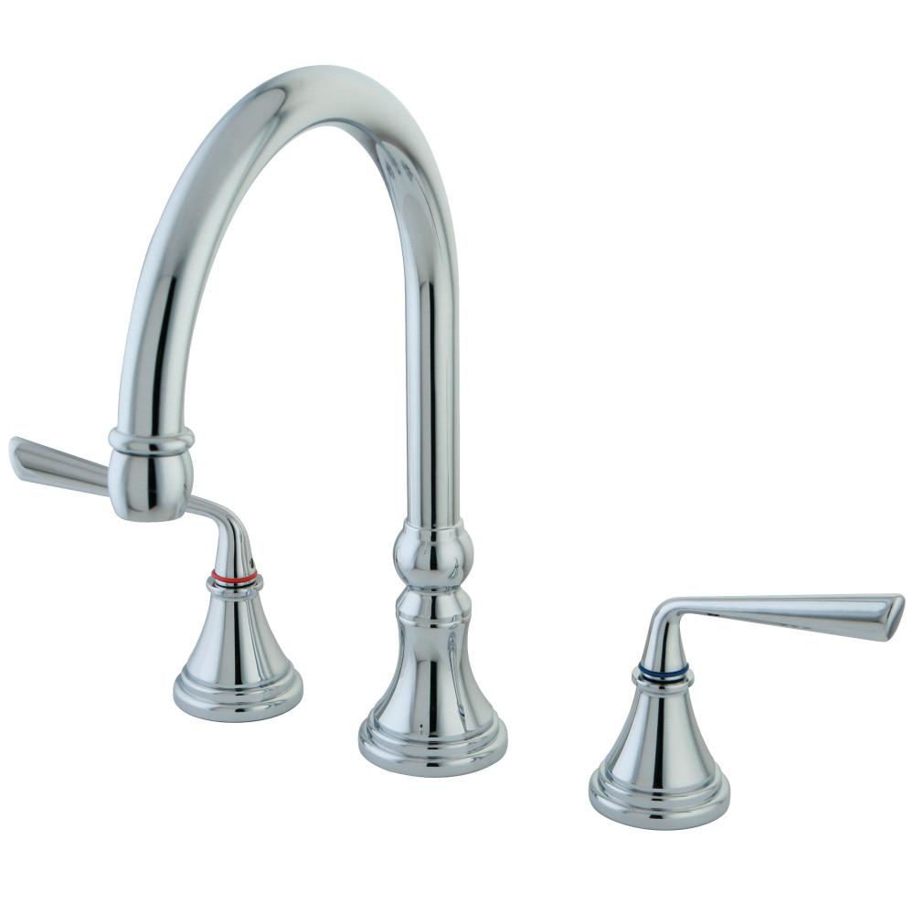 Kingston Brass KS2791ZLLS Silver Sage Widespread Kitchen Faucet ...