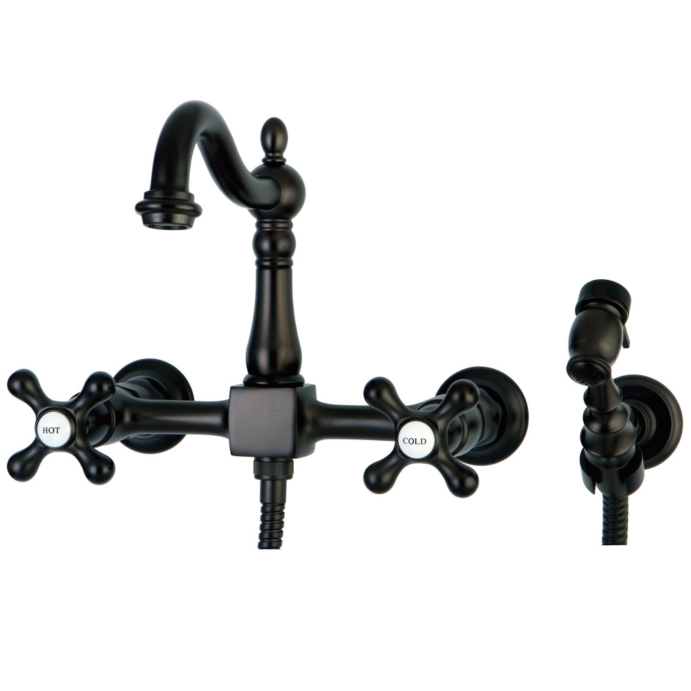Kingston Brass KS1265AXBS Wall Mount Kitchen Faucet With Brass Sprayer, Oil  Rubbed Bronze