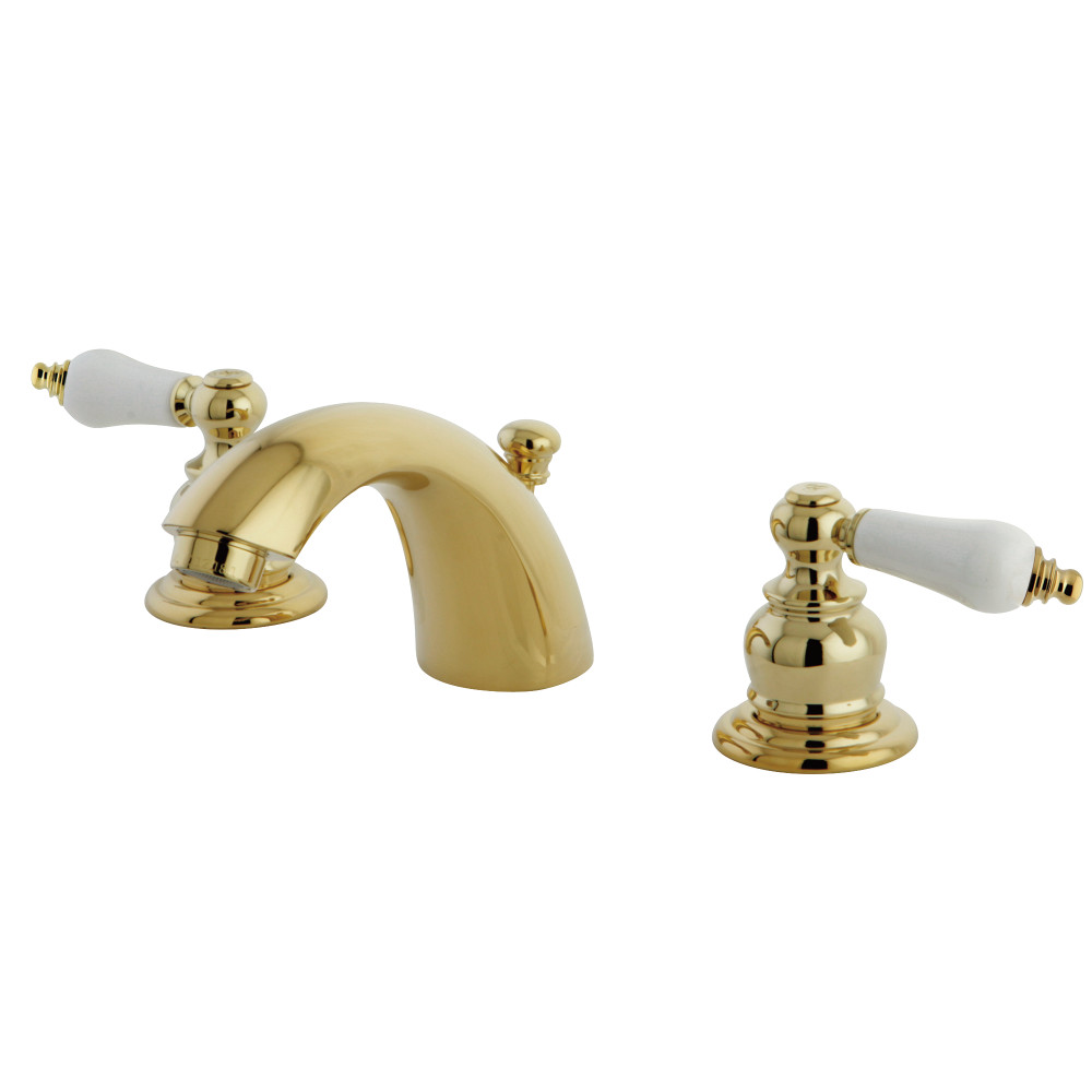 Victorian Polished Brass Widespread Bathroom Faucet: Kingston Brass KB942B Victorian Mini Widespread Lavatory Faucet With Retail Pop-Up, Polished