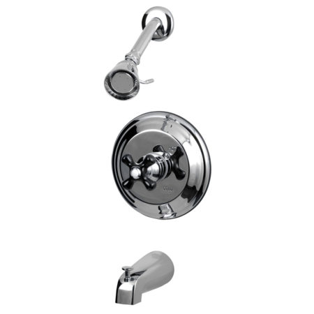 Kingston Brass KB3631PKX Duchess Tub and Shower Faucet with Cross Handle, Polished Chrome