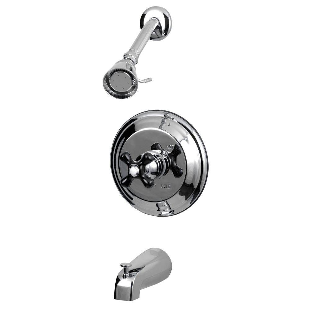 Kingston Brass Kb3631pkx Duchess Tub And Shower Faucet With Cross Handle Polished Chrome