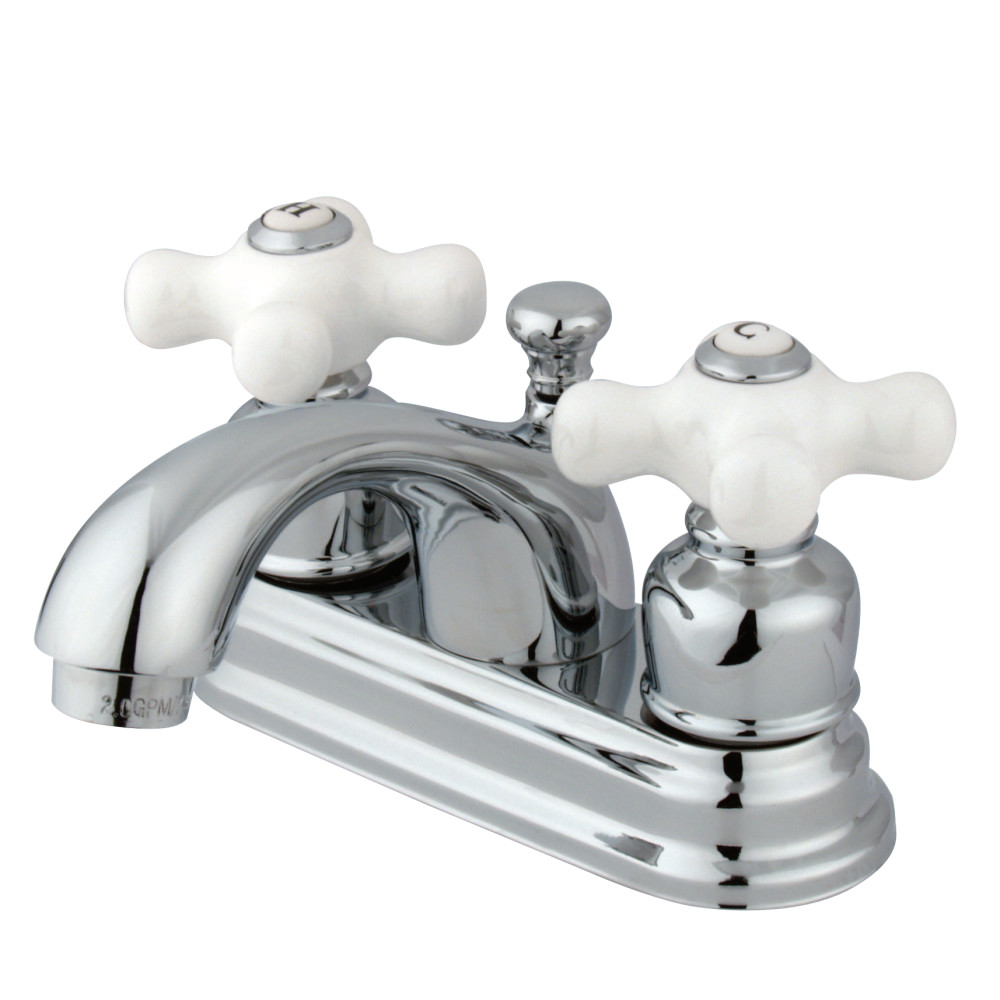 Kingston Brass Kb2601px 4 Inch Center Lavatory Faucet With Porcelain Cross Handle Chrome