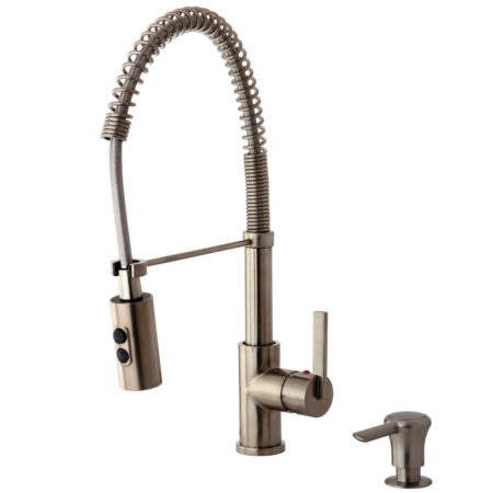 Gourmetier GS8778CTLK8 Single Handle Pull Down Sprayer Faucet and Matching Soap Dispenser, Satin Nickel