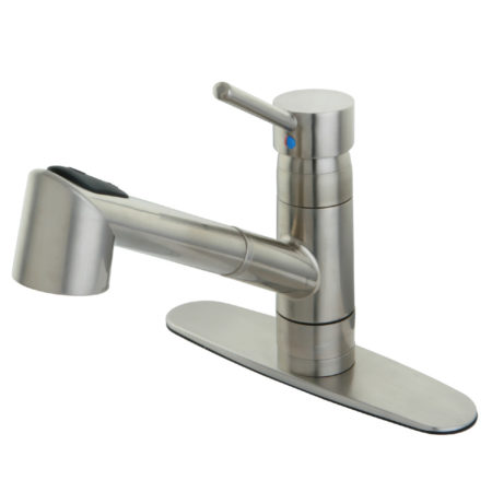 Gourmetier GS8578WDL Wilshire Single Handle Pull-Out Spray Kitchen Faucet, Satin Nickel
