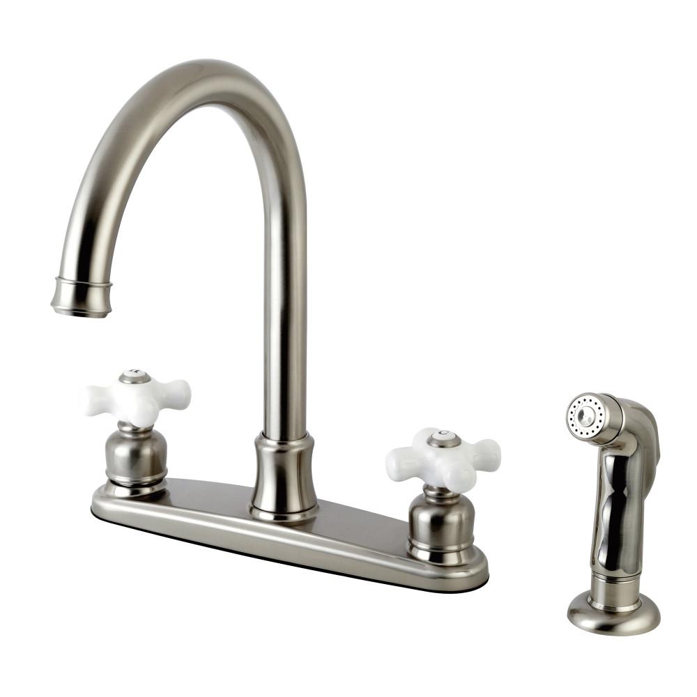 Kingston Brass FB7798PXSP Centerset Kitchen Faucet, Brushed Nickel ...