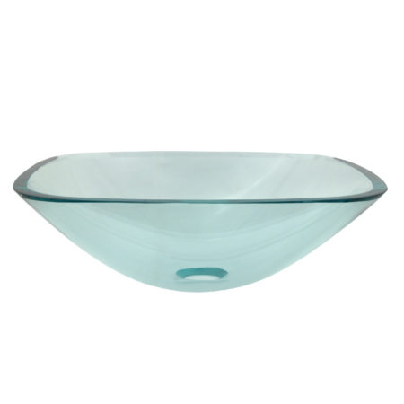 "Fauceture EVSQCC4 1/2"" Round Tempered Glass Vessel Sink, Clear"