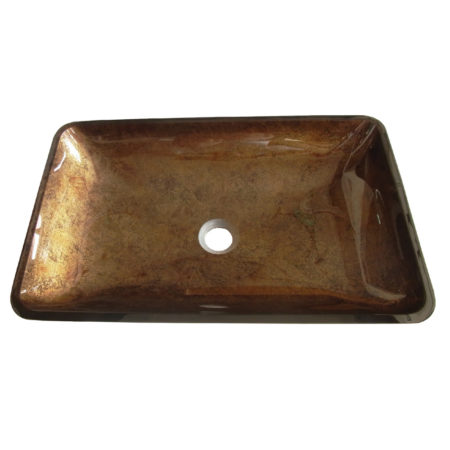 Fauceture EVR2214FB Roma Rectangular Antique Copper Glass Vessel Sink, Antique Copper