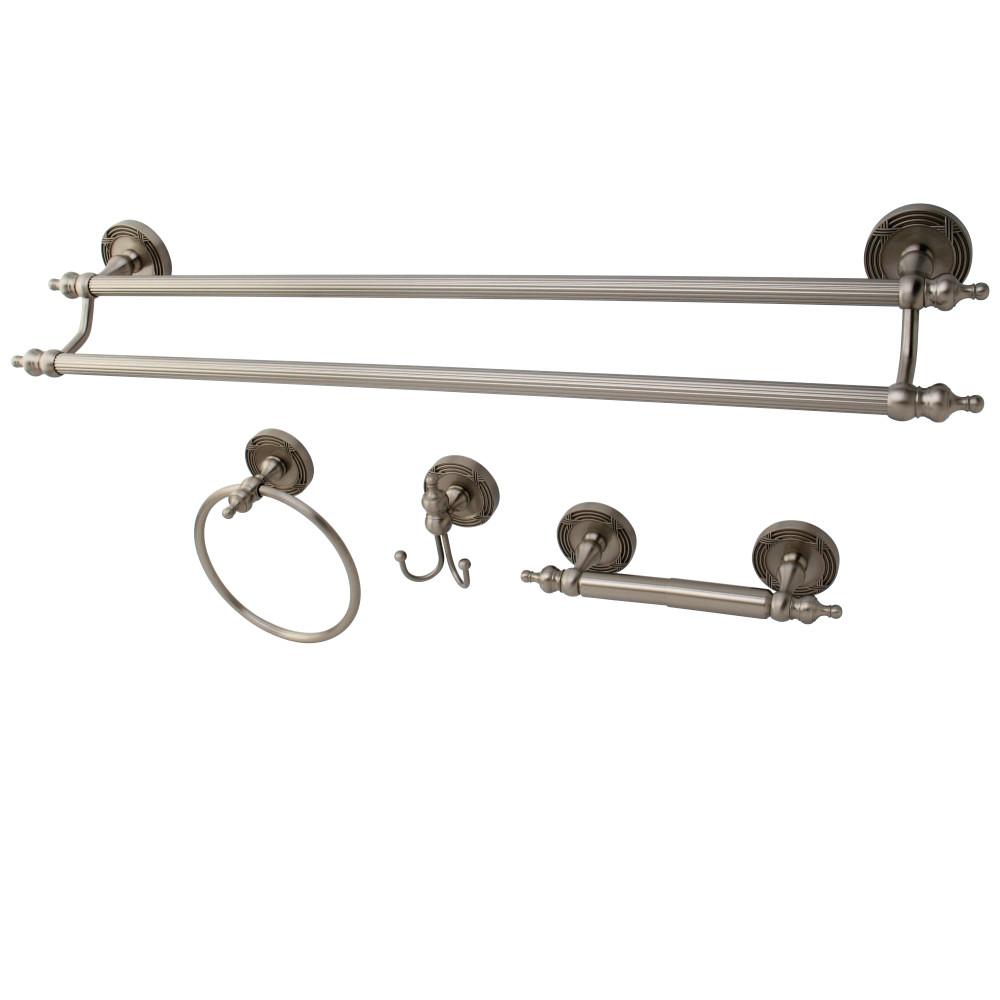 Kingston Brass Bak9913478sn 4 Pcs Dual Towel Bar Bath Hardware Set Satin Nickel Kingston Brass