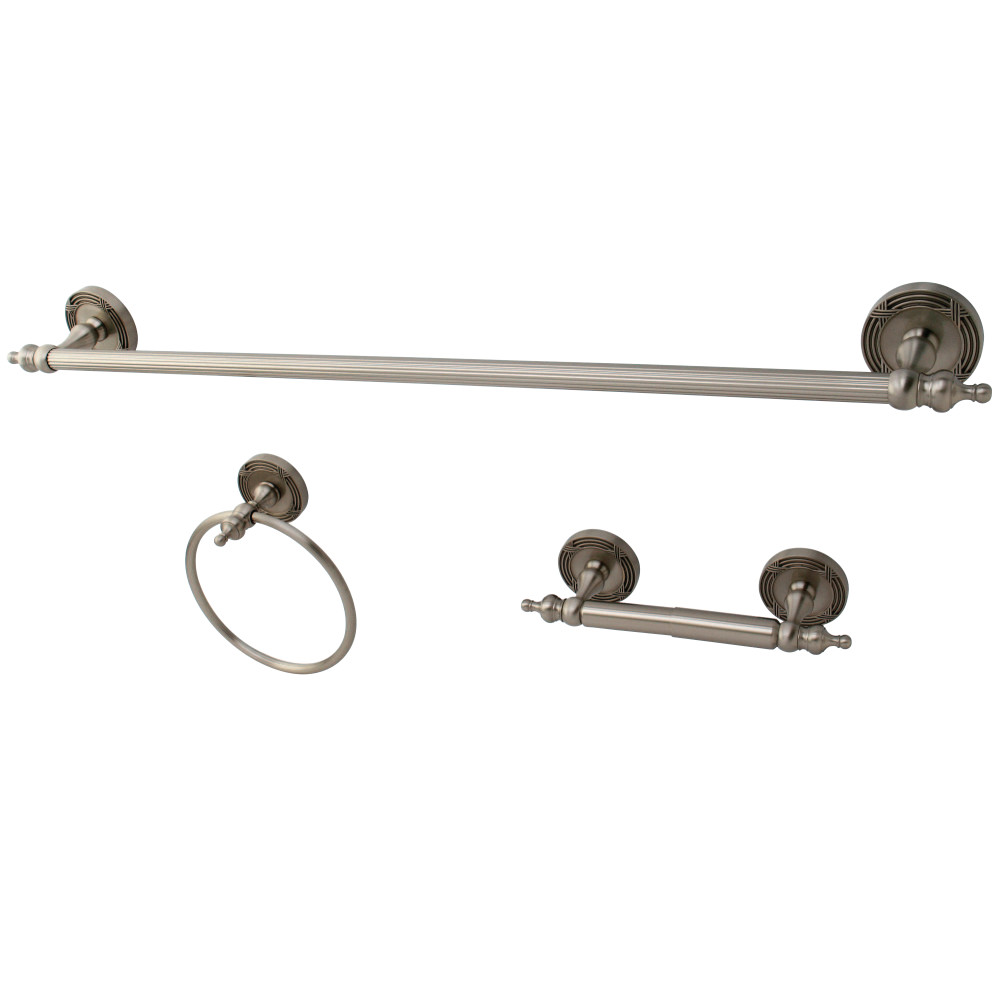 Kingston Brass Bak991148sn 3 Piece Towel Bar Bath Hardware Set Satin Nickel Kingston Brass