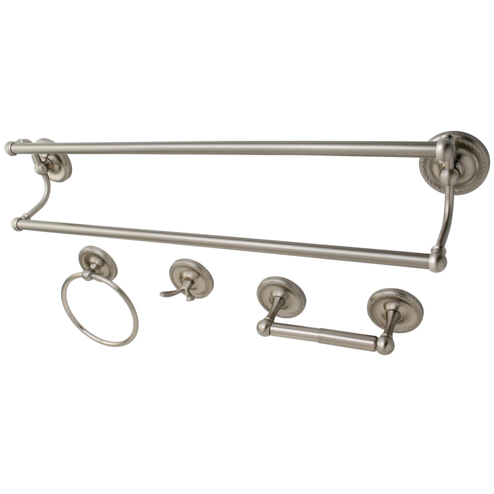 Kingston Brass Bak913478sn 4 Pcs Dual Towel Bar Bath Hardware Set Brushed Nickel Kingston Brass