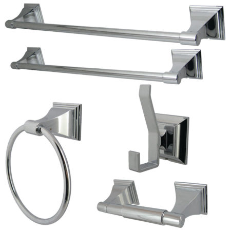 Kingston Brass BAHK61212478C Monarch Collection 5 Piece Towel Bar Bath  Hardware Set, Polished Chrome