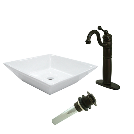 Kingston Brass EV4256B1425 Vessel Sink With Heritage Sink Faucet & Drain Comb, White