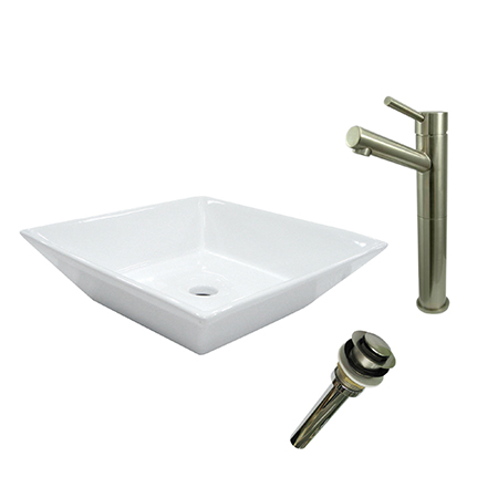 Kingston Brass EV4256S8418 Vessel Sink With Concord Sink Faucet & Drain Combo, White
