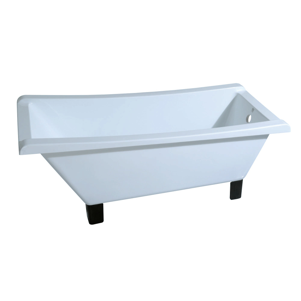 Kingston Brass Aqua Eden 67-Inch Acrylic Square Clawfoot Tub with ...