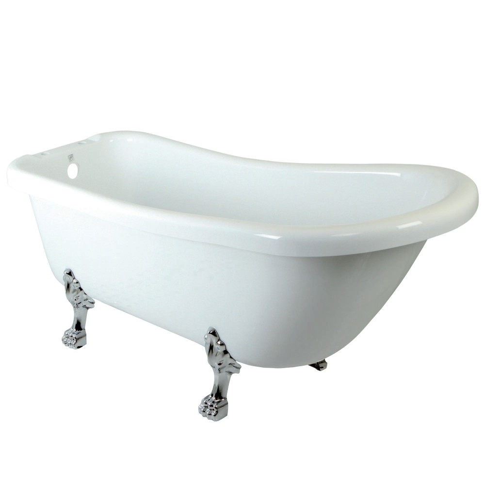 "Kingston Brass Aqua Eden 67"" Slipper Acrylic Bath Tub with Chrome Constantine Lion Feet and 7"" Deck Drillings"