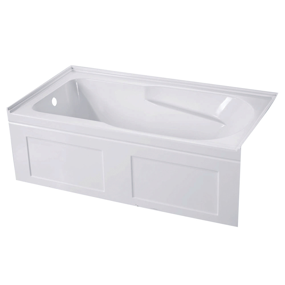 "Kingston Brass Aqua Eden 60"" Contemporary Alcove Acrylic Bath Tub- Left Hand Drain"