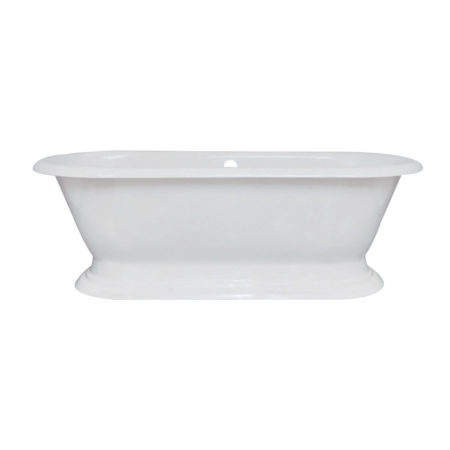 "Kingston Brass Aqua Eden 72"" Cast Iron Double Ended Pedestal Bath Tub without Faucet Drillings"