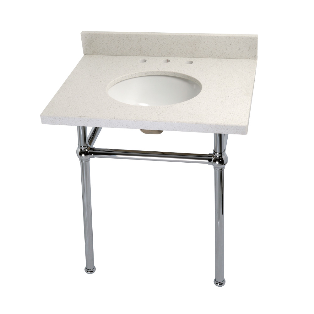 bathroom console vanity. Fauceture KVPB30WQB1 Templeton White Quartz Bathroom Console Vanity With Brass Pedestal, Chrome
