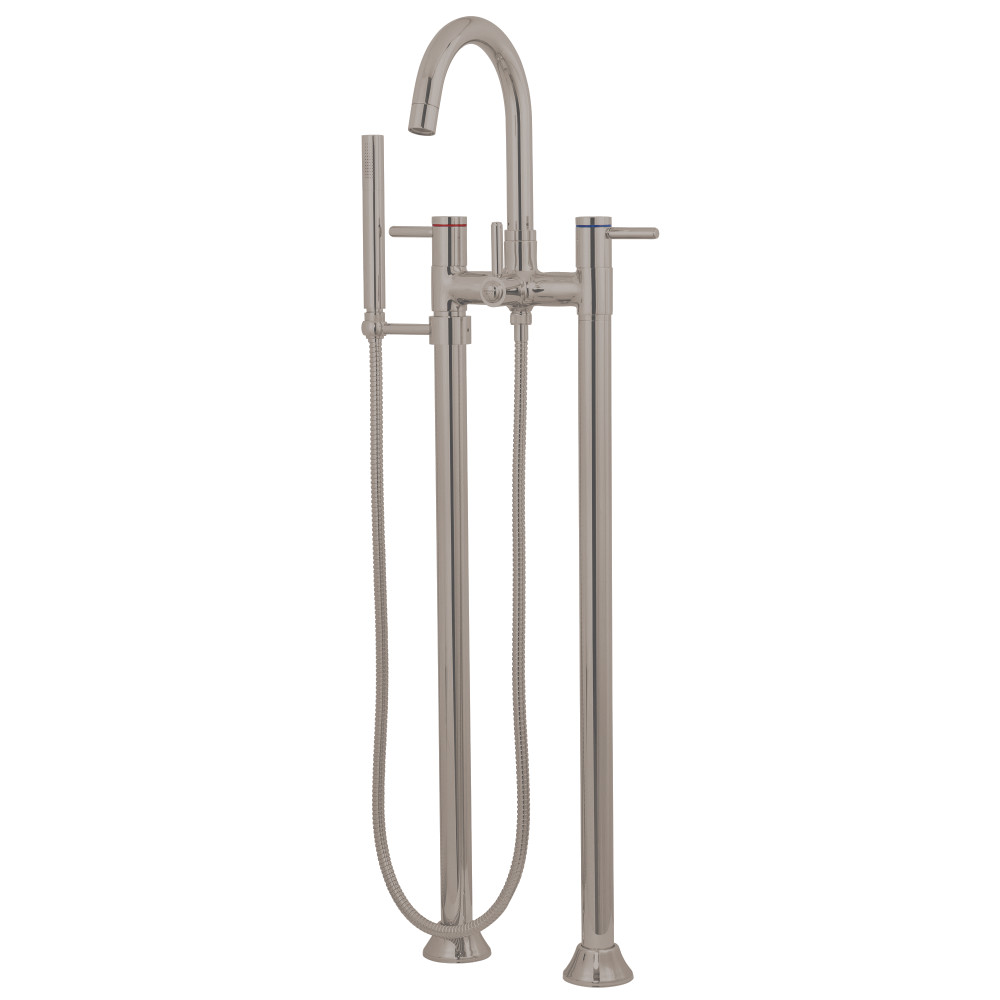 Kingston Brass KS8358DL Concord Floor Mount Tub Filler with Hand Shower, Satin Nickel