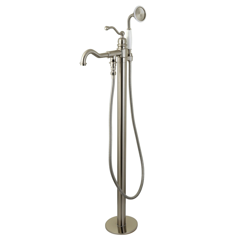 Kingston Brass KS7138ABL English Country Single Handle Freestanding Roman Tub Filler with Hand Shower, Satin Nickel