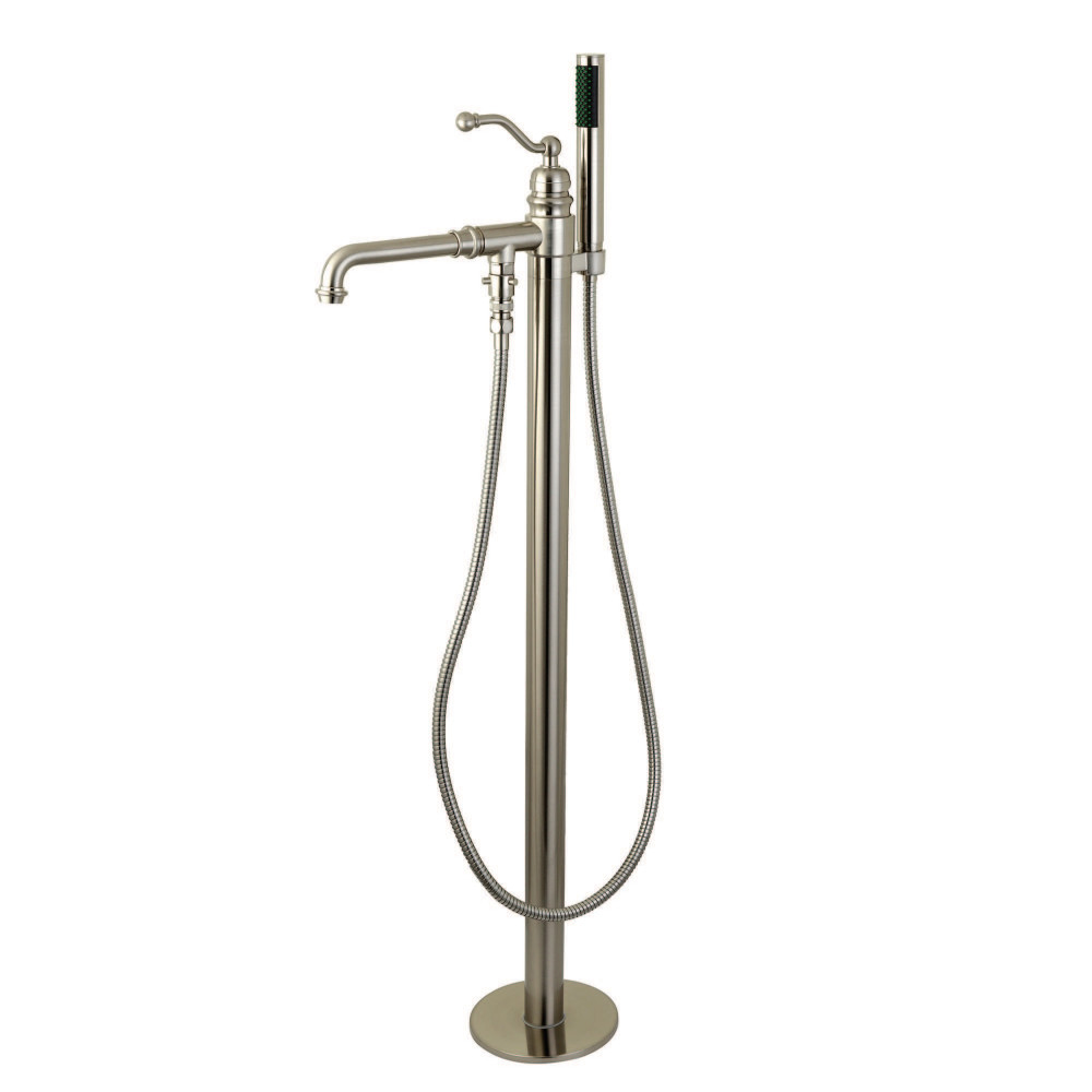 Kingston Brass KS7038ABL English Country Single Handle Freestanding Roman Tub Filler with Hand Shower, Satin Nickel