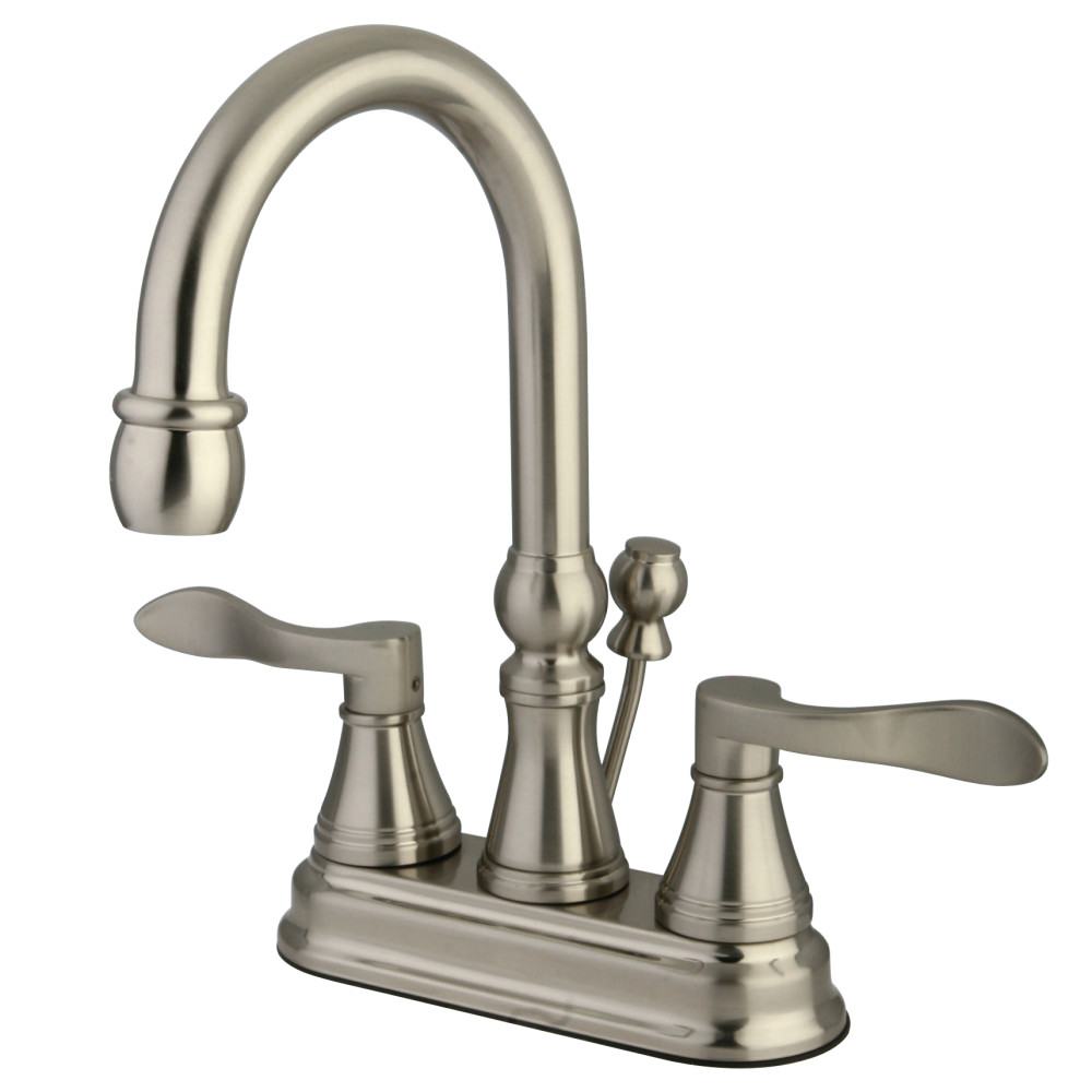 Kingston Brass Ks2618dfl Nufrench 4 Inch Centerset Lavatory Faucet With Brass Pop Up Brushed