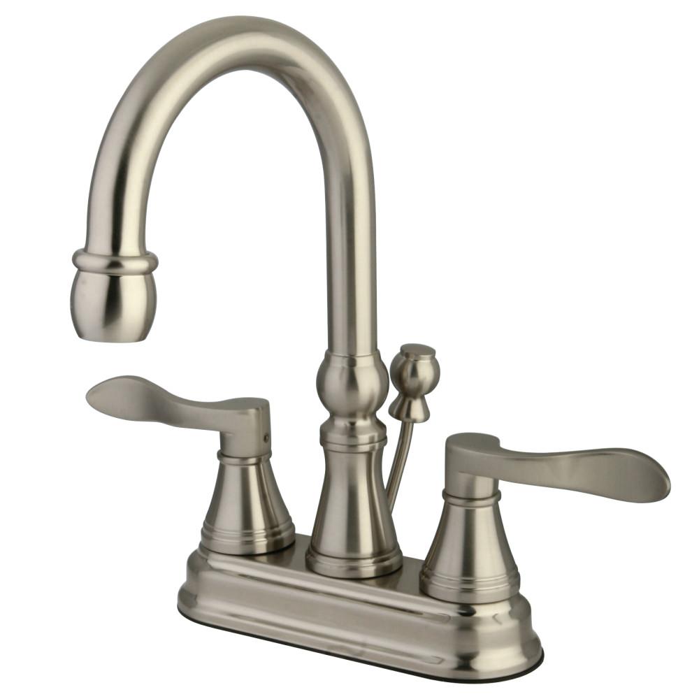 Kingston Brass Ks2618dfl Nufrench 4 Inch Centerset Lavatory Faucet With Brass Pop Up Satin