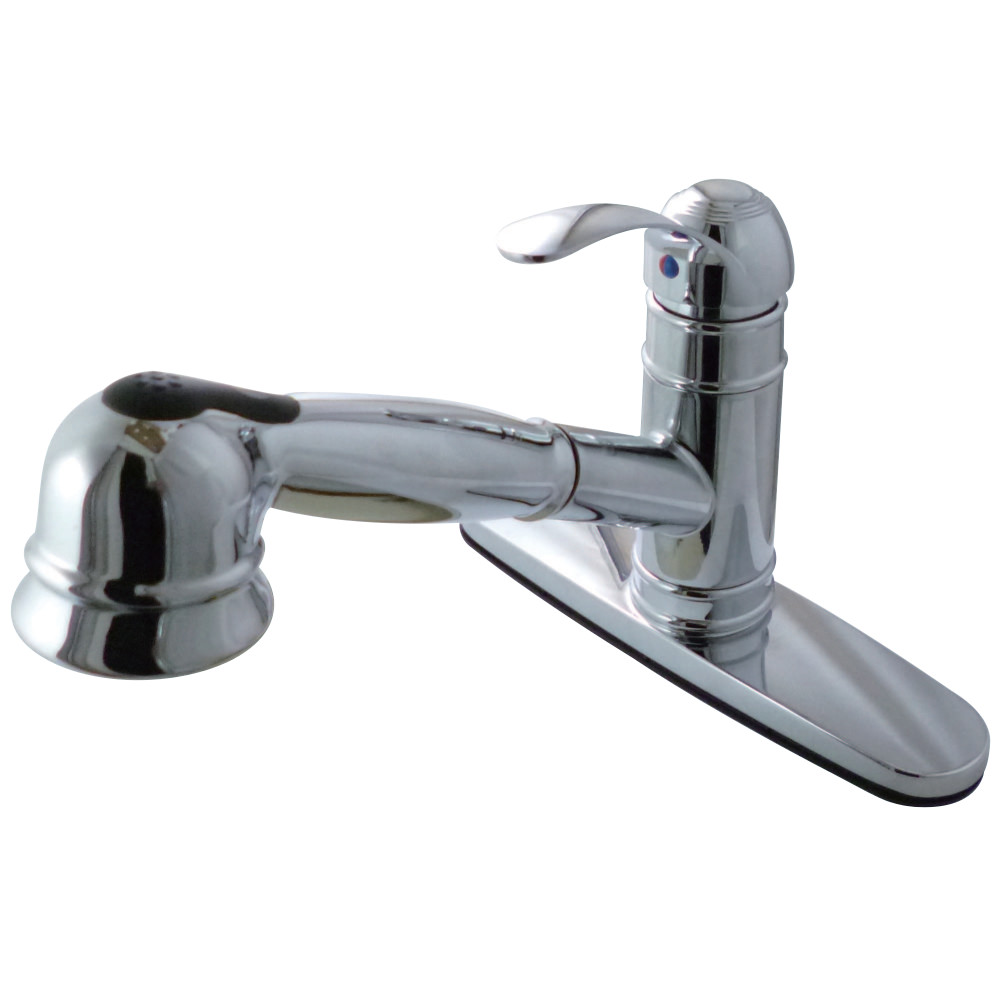 Kingston Brass GSC7571WEL Pull Out Kitchen Faucet with Deck Plate, Chrome