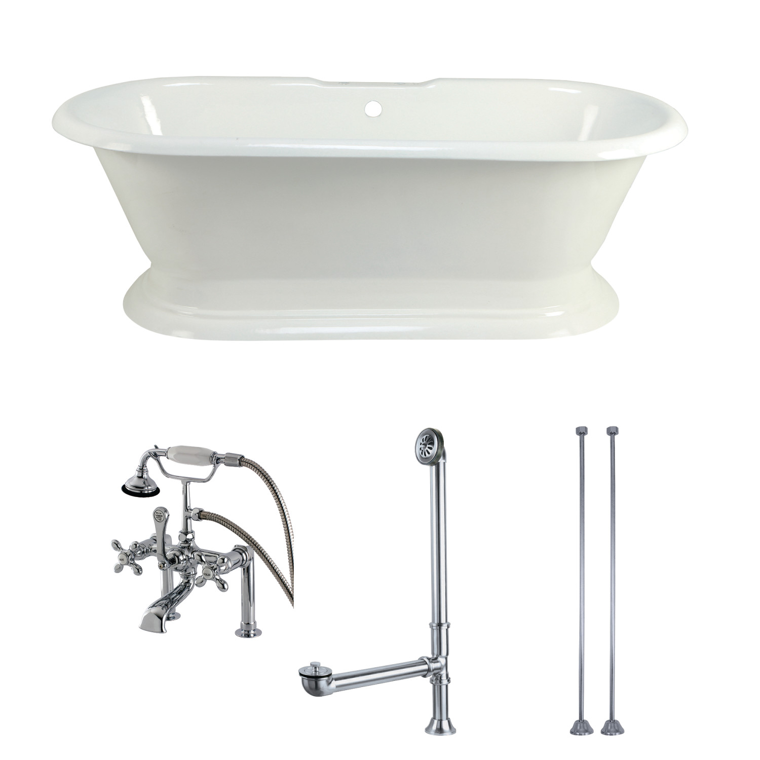 Aqua Eden 67-Inch Acrylic Pedestal Tub with Faucet Drain and Supply ...