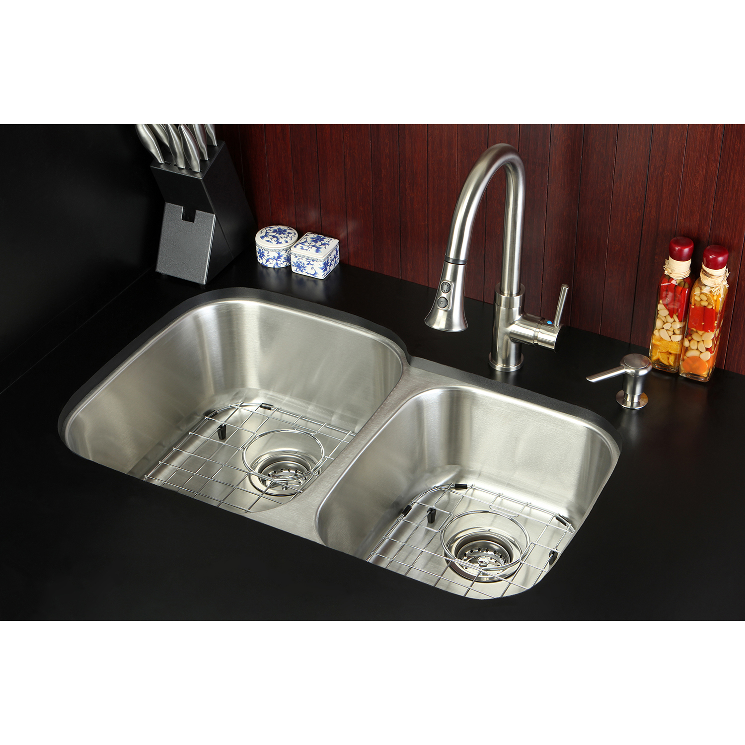 kingston brass loft kzgkud3221f undermount double bowl kitchen sink and faucet combo with. Black Bedroom Furniture Sets. Home Design Ideas