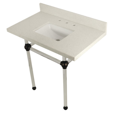 Kingston Brass KVPB36WQASQ5 36X22 White Quartz Vanity with Sink & Acrylic Feet Combo, White Quartz/Oil Rubbed Bronze