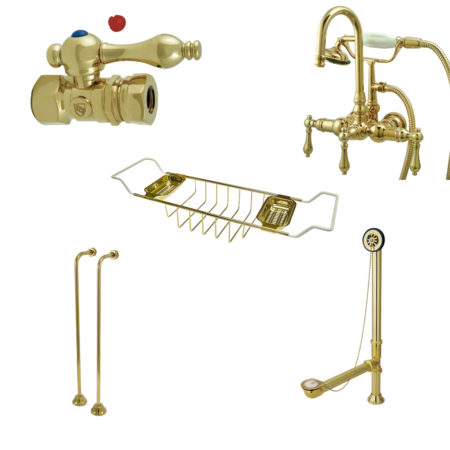 Kingston Brass CCK7T2SS-TC Vintage Goose Neck Tub Mount Clawfoot Tub Filler with Shower Mixer Kit, Polished Brass