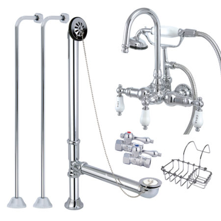 Vintage Wall Mount Gooseneck Clawfoot Tub Filler with Shower Mixer Kit in Polished Chrome