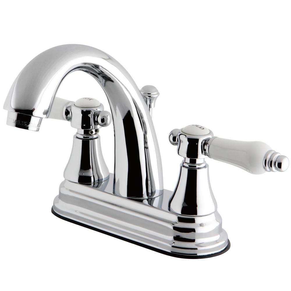 Kingston brass ks7611bpl 4 inch centerset lavatory faucet - Polished chrome bathroom faucets ...