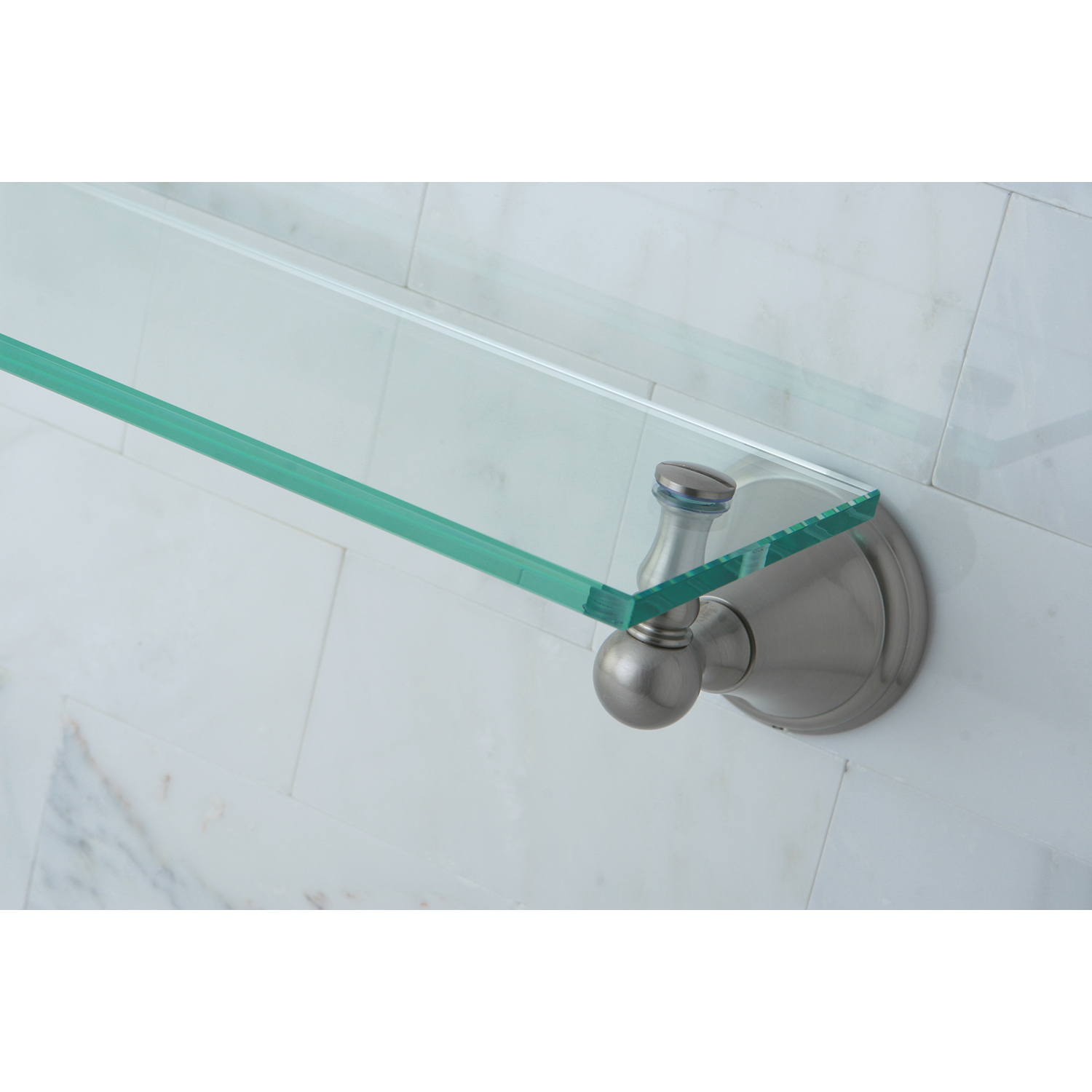 Kingston Brass BA2979SN Governor Cosmetic Glass Shelf, Brushed ...