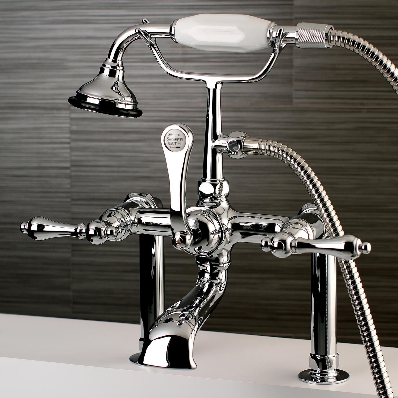 Aqua Vintage AE104T1 Vintage Deck Mount Clawfoot Tub Faucet, Chrome ...