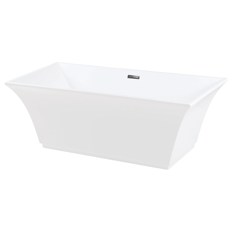 Aqua Eden 67-Inch Freestanding Square Acrylic Tub with Drain, White ...