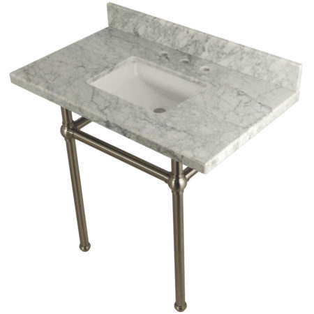 Kingston Brass KVPB36MBSQ8 36X22 Carrara Marble Vanity with Sink and Brass Feet Combo, Carrara Marble/Brushed Nickel