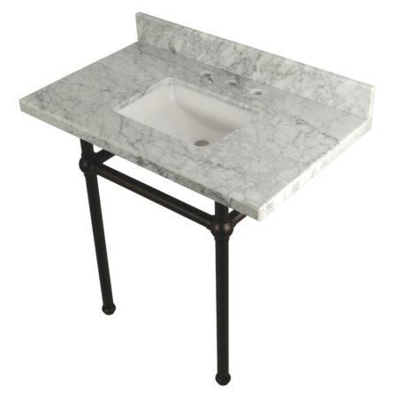 Kingston Brass KVPB36MBSQ5 36X22 Carrara Marble Vanity with Sink and Brass Feet Combo, Carrara Marble/Oil Rubbed Bronze