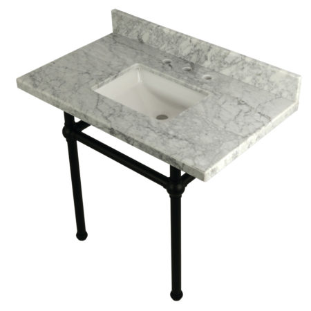 Kingston Brass KVPB3630MBSQ0 36X22 Carrara Marble Vanity with Sink and Brass Feet Combo, Carrara Marble/Matte Black