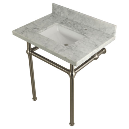Kingston Brass KVPB30MBSQ8 30X22 Carrara Marble Vanity with Sink and Brass Feet Combo, Carrara Marble/Brushed Nickel