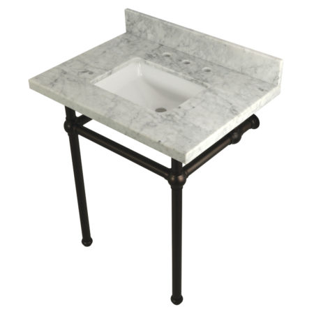 Kingston Brass KVPB30MBSQ5 30X22 Carrara Marble Vanity with Sink and Brass Feet Combo, Carrara Marble/Oil Rubbed Bronze