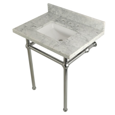 Kingston Brass KVPB30MBSQ1 30X22 Carrara Marble Vanity with Sink and Brass Feet Combo, Carrara Marble/Polished Chrome