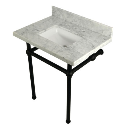 Kingston Brass KVPB30MBSQ0 30X22 Carrara Marble Vanity with Sink and Brass Feet Combo, Carrara Marble/Matte Black