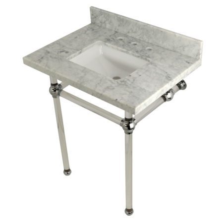 Kingston Brass KVPB30MASQ1 30X22 Carrara Marble Vanity with Sink and Acrylic Feet Combo, Carrara Marble/Polished Chrome