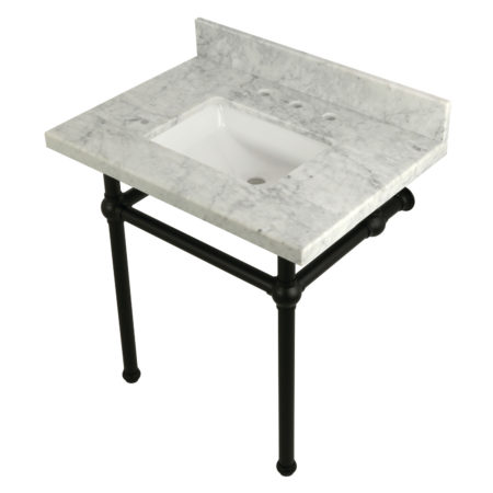 Kingston Brass KVPB3030MBSQ0 30X22 Carrara Marble Vanity with Sink and Brass Feet Combo, Carrara Marble/Matte Black