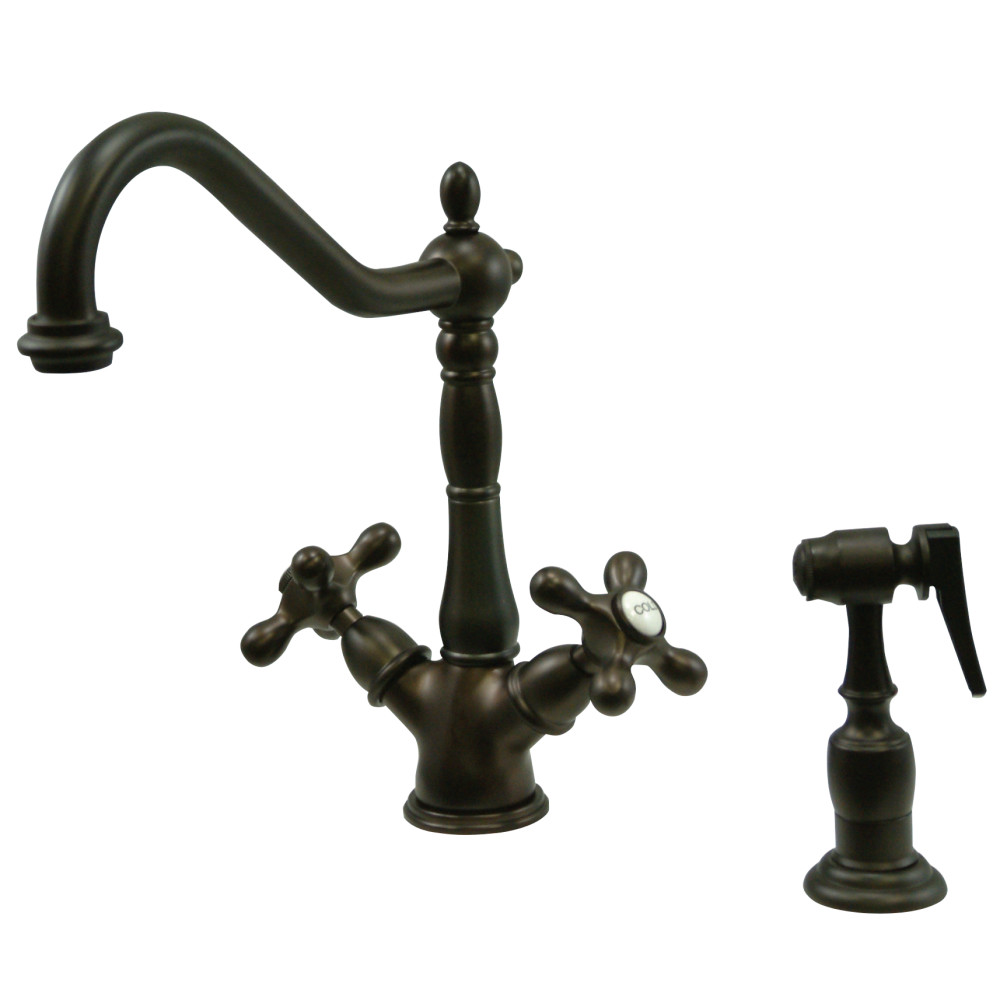 Kingston Brass KS1235AXBS Heritage Deck Mount Kitchen Faucet With ...