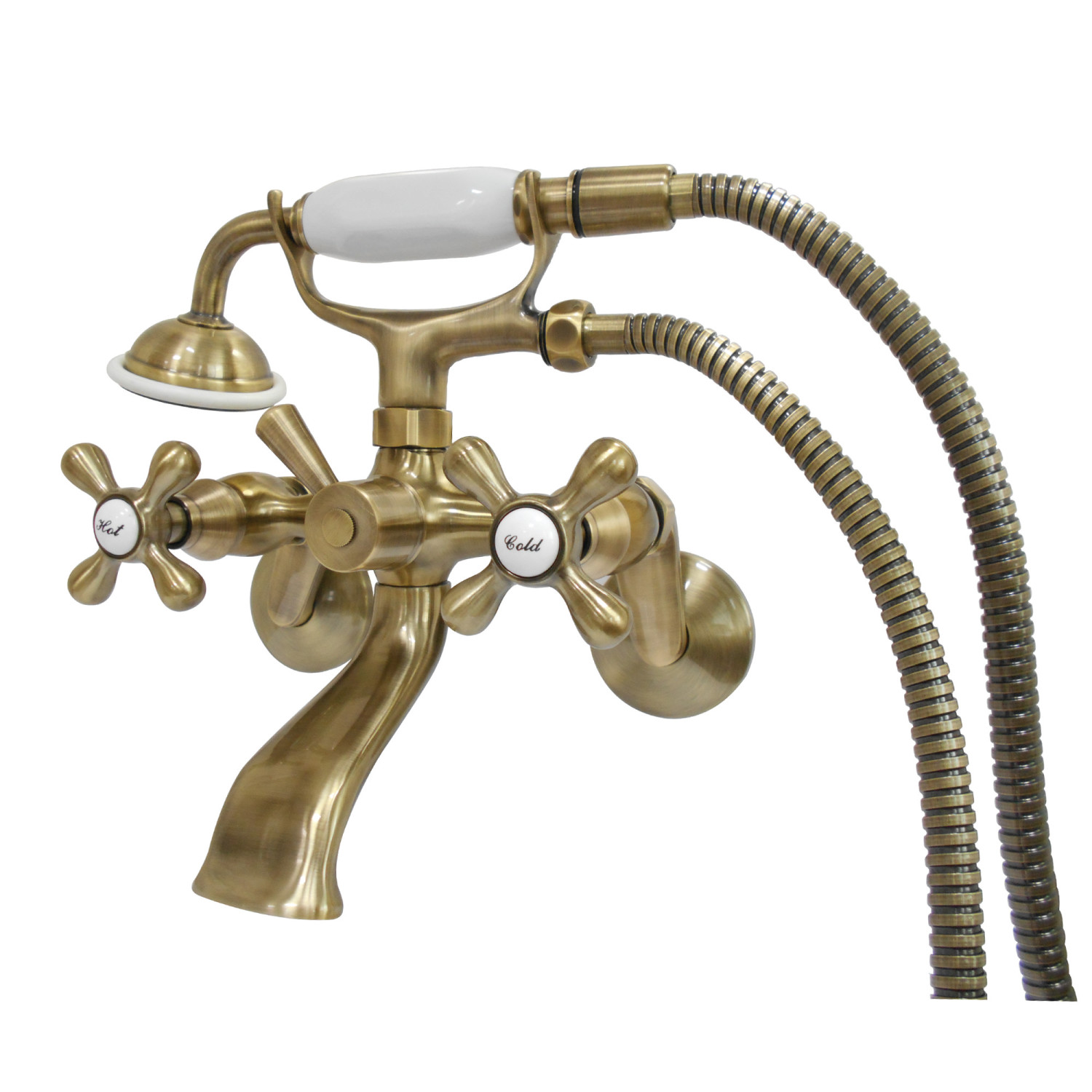 Kingston Brass KS266SB Wall Mount Clawfoot Tub Faucet with Hand ...